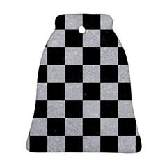 Square1 Black Marble & Silver Glitter Ornament (bell) by trendistuff