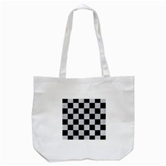 Square1 Black Marble & Silver Glitter Tote Bag (white) by trendistuff