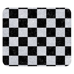 Square1 Black Marble & Silver Glitter Double Sided Flano Blanket (small)  by trendistuff