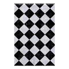 Square2 Black Marble & Silver Glitter Shower Curtain 48  X 72  (small)  by trendistuff