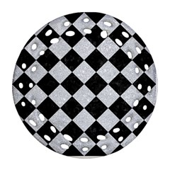Square2 Black Marble & Silver Glitter Ornament (round Filigree) by trendistuff