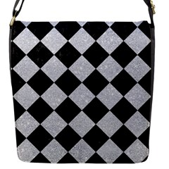 Square2 Black Marble & Silver Glitter Flap Messenger Bag (s) by trendistuff
