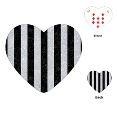 Stripes1 Black Marble & Silver Glitter Playing Cards (heart)  by trendistuff