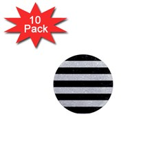 Stripes2 Black Marble & Silver Glitter 1  Mini Magnet (10 Pack)  by trendistuff