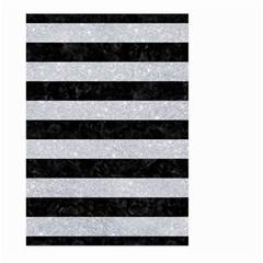 Stripes2 Black Marble & Silver Glitter Large Garden Flag (two Sides) by trendistuff