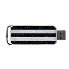 Stripes2 Black Marble & Silver Glitter Portable Usb Flash (two Sides) by trendistuff
