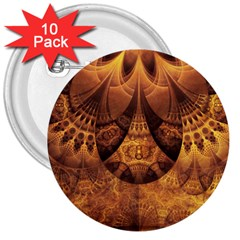 Beautiful Gold And Brown Honeycomb Fractal Beehive 3  Buttons (10 Pack)  by jayaprime