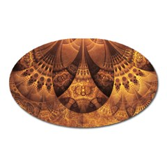 Beautiful Gold And Brown Honeycomb Fractal Beehive Oval Magnet by beautifulfractals
