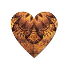 Beautiful Gold And Brown Honeycomb Fractal Beehive Heart Magnet by jayaprime
