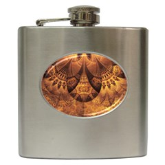 Beautiful Gold And Brown Honeycomb Fractal Beehive Hip Flask (6 Oz) by jayaprime