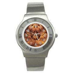 Beautiful Gold And Brown Honeycomb Fractal Beehive Stainless Steel Watch by jayaprime