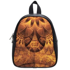 Beautiful Gold And Brown Honeycomb Fractal Beehive School Bag (small) by jayaprime
