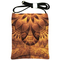 Beautiful Gold And Brown Honeycomb Fractal Beehive Shoulder Sling Bags by jayaprime
