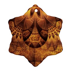 Beautiful Gold And Brown Honeycomb Fractal Beehive Snowflake Ornament (two Sides) by jayaprime