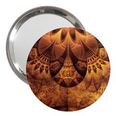 Beautiful Gold And Brown Honeycomb Fractal Beehive 3  Handbag Mirrors by beautifulfractals