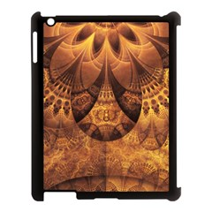 Beautiful Gold And Brown Honeycomb Fractal Beehive Apple Ipad 3/4 Case (black) by jayaprime