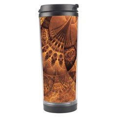 Beautiful Gold And Brown Honeycomb Fractal Beehive Travel Tumbler by jayaprime