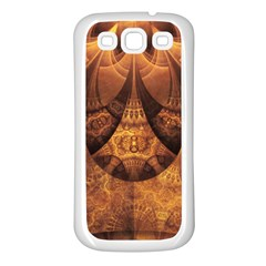 Beautiful Gold And Brown Honeycomb Fractal Beehive Samsung Galaxy S3 Back Case (white) by jayaprime