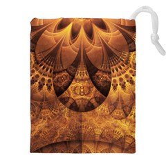 Beautiful Gold And Brown Honeycomb Fractal Beehive Drawstring Pouches (xxl) by jayaprime