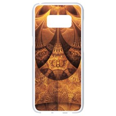 Beautiful Gold And Brown Honeycomb Fractal Beehive Samsung Galaxy S8 White Seamless Case by beautifulfractals