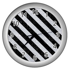Stripes3 Black Marble & Silver Glitter Wall Clocks (silver)  by trendistuff