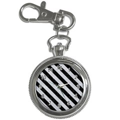 Stripes3 Black Marble & Silver Glitter Key Chain Watches by trendistuff