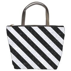 Stripes3 Black Marble & Silver Glitter Bucket Bags by trendistuff