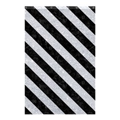 Stripes3 Black Marble & Silver Glitter Shower Curtain 48  X 72  (small)  by trendistuff