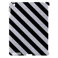 Stripes3 Black Marble & Silver Glitter Apple Ipad 3/4 Hardshell Case (compatible With Smart Cover) by trendistuff