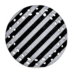 Stripes3 Black Marble & Silver Glitter (r) Ornament (round Filigree) by trendistuff