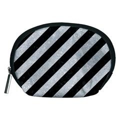 Stripes3 Black Marble & Silver Glitter (r) Accessory Pouches (medium)  by trendistuff