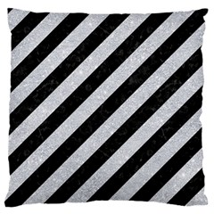 Stripes3 Black Marble & Silver Glitter (r) Large Flano Cushion Case (two Sides) by trendistuff