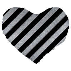 Stripes3 Black Marble & Silver Glitter (r) Large 19  Premium Flano Heart Shape Cushions by trendistuff