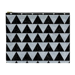 Triangle2 Black Marble & Silver Glitter Cosmetic Bag (xl) by trendistuff