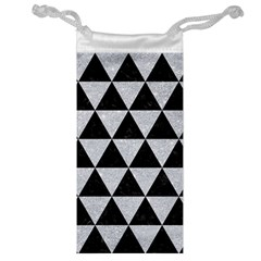 Triangle3 Black Marble & Silver Glitter Jewelry Bag by trendistuff