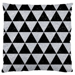 Triangle3 Black Marble & Silver Glitter Large Cushion Case (two Sides) by trendistuff