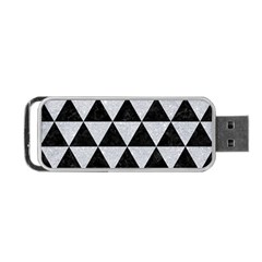 Triangle3 Black Marble & Silver Glitter Portable Usb Flash (two Sides)