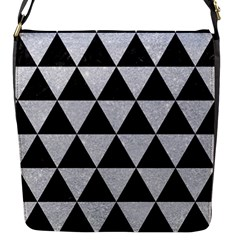 Triangle3 Black Marble & Silver Glitter Flap Messenger Bag (s) by trendistuff