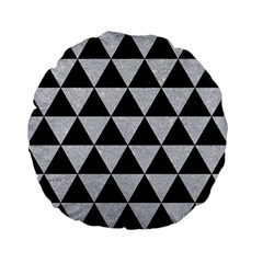 Triangle3 Black Marble & Silver Glitter Standard 15  Premium Flano Round Cushions by trendistuff