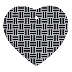 Woven1 Black Marble & Silver Glitter Heart Ornament (two Sides) by trendistuff