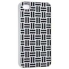 Woven1 Black Marble & Silver Glitter Apple Iphone 4/4s Seamless Case (white) by trendistuff