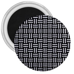 Woven1 Black Marble & Silver Glitter (r) 3  Magnets by trendistuff
