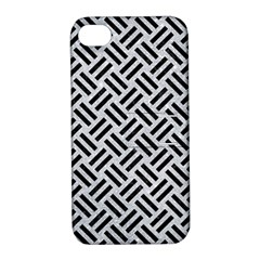 Woven2 Black Marble & Silver Glitter Apple Iphone 4/4s Hardshell Case With Stand