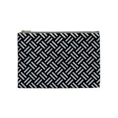 Woven2 Black Marble & Silver Glitter (r) Cosmetic Bag (medium)  by trendistuff