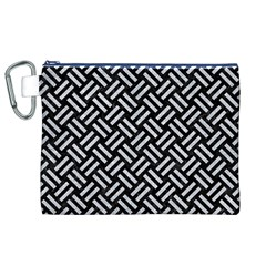 Woven2 Black Marble & Silver Glitter (r) Canvas Cosmetic Bag (xl) by trendistuff