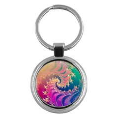 Rainbow Octopus Tentacles In A Fractal Spiral Key Chains (round)  by beautifulfractals