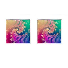 Rainbow Octopus Tentacles In A Fractal Spiral Cufflinks (square) by jayaprime