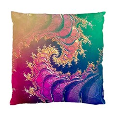 Rainbow Octopus Tentacles In A Fractal Spiral Standard Cushion Case (one Side) by jayaprime