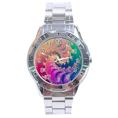 Rainbow Octopus Tentacles In A Fractal Spiral Stainless Steel Analogue Watch by jayaprime