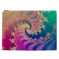 Rainbow Octopus Tentacles In A Fractal Spiral Cosmetic Bag (xxl)  by jayaprime
